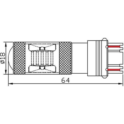 LED лампа гальмування UP-7G-3157WB-30W (біла, 12-24 В) Прев'ю 1